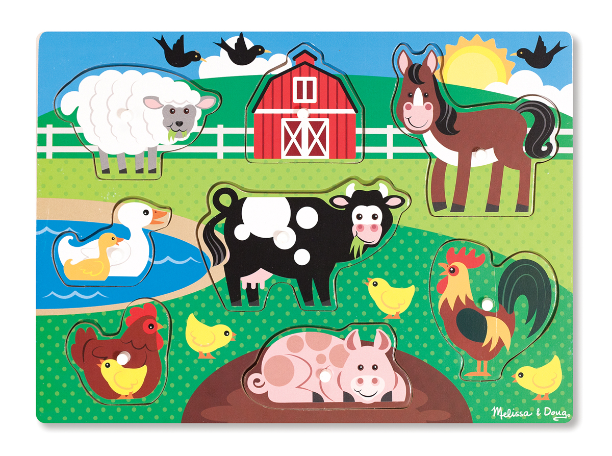 Farm Peg Puzzle 8 Pieces Animal Toys Melissa And Doug
