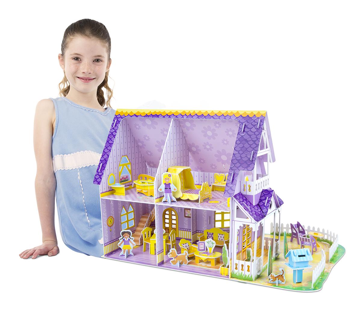 Melissa & Doug Pretty Purple Dollhouse 3D Puzzle & Dollhouse In One