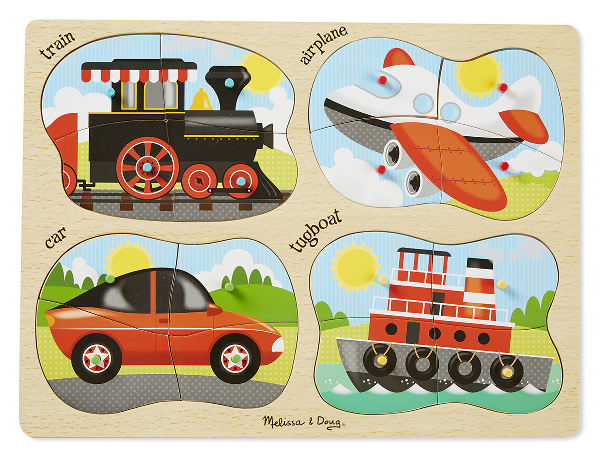 Melissa & Doug - 4-in-1 Peg Puzzle - Vehicles