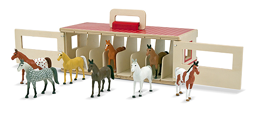 Melissa & Doug Take-Along Show-Horse Stable Play Set 3744