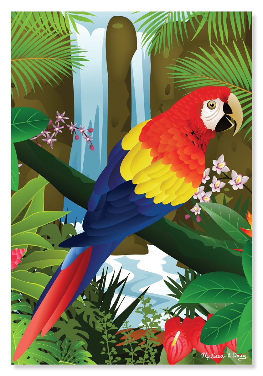 Melissa & Doug - Tropical Parrot Cardboard Jigsaw - 200 Pieces
