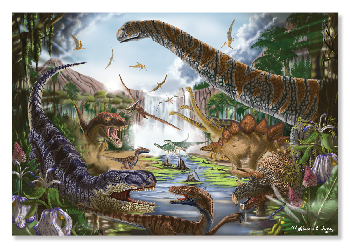 Melissa & Doug - Prehistoric Waterfall Cardboard Jigsaw - 200 Pieces