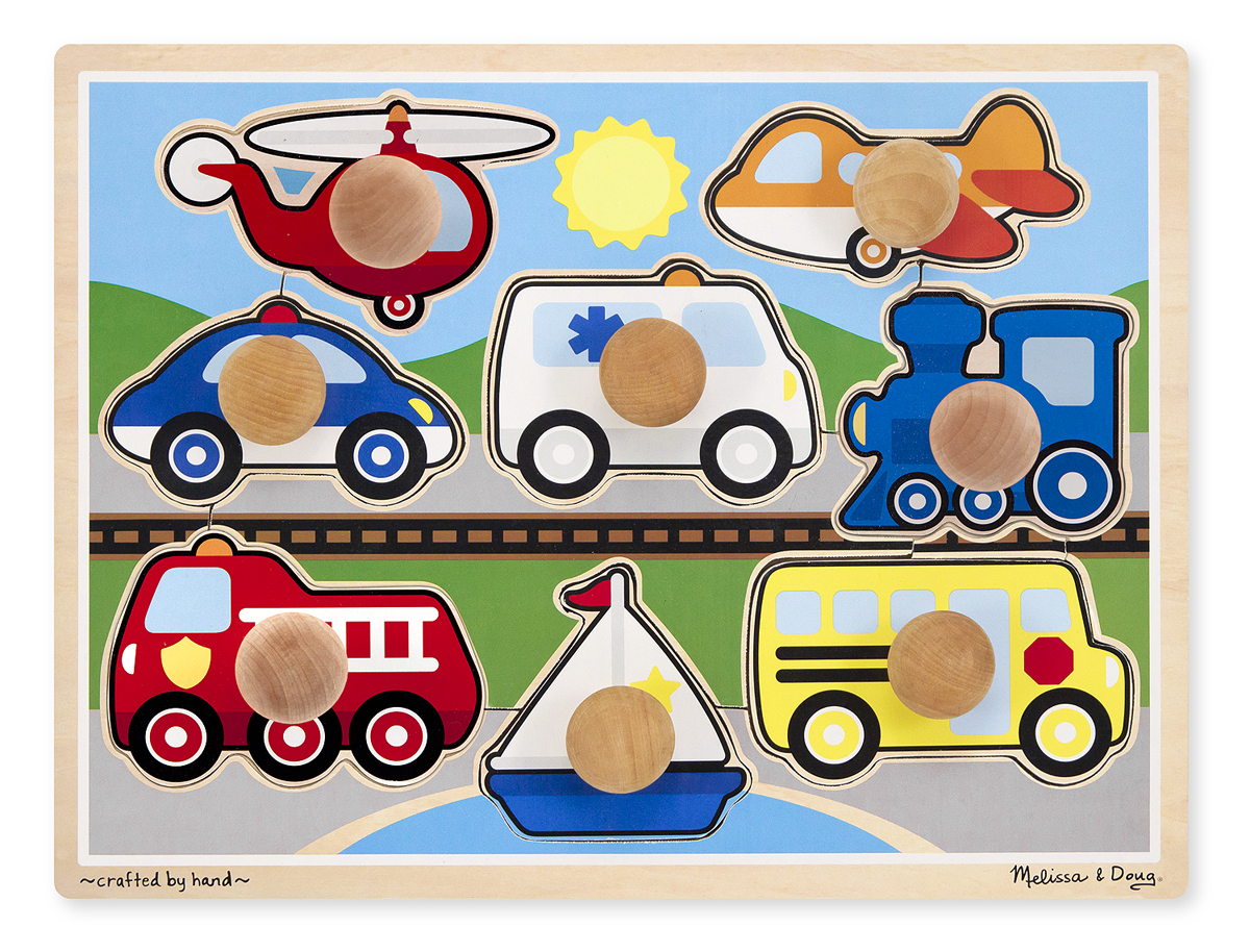 Melissa and Doug Vehicles Jumbo Knob Puzzle – 8 pieces