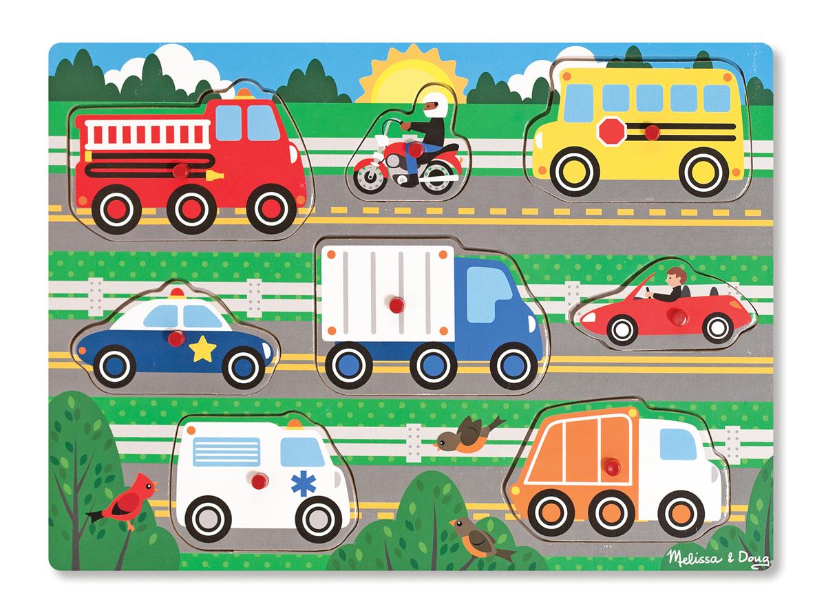Melissa & Doug - Vehicles Peg Puzzle - 8 Pieces