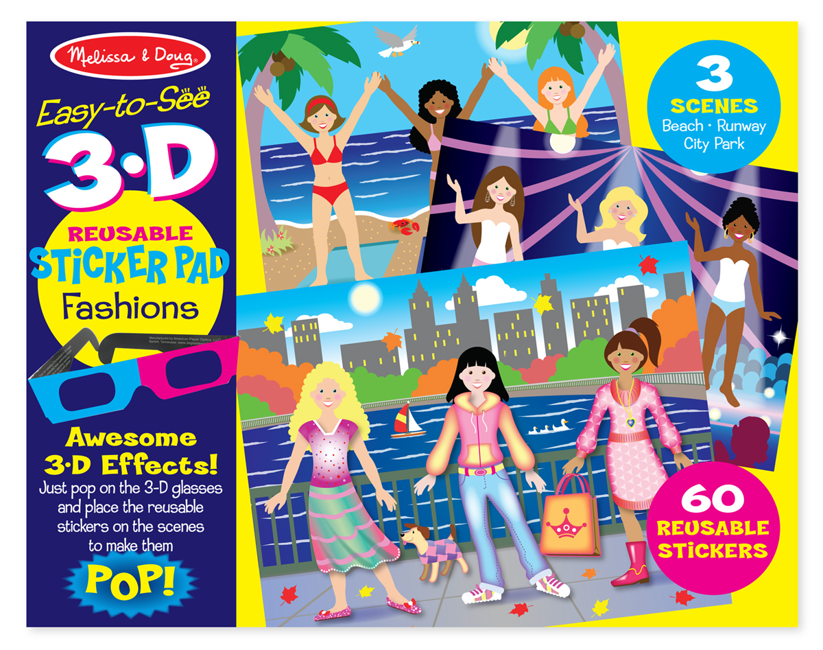 Melissa & Doug - Easy-to-See 3-D Reusable Sticker Pad - Fashions fdeb3672ef5ee95f5d2a051d95e0b3fd