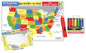 USA Map Learning Mat with Wipe-Off Crayons