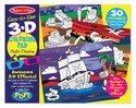 Easy-to-See 3D Coloring Pad Multi-Theme - Blue