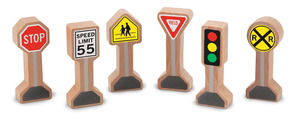 Wooden Classic Traffic Signs Set