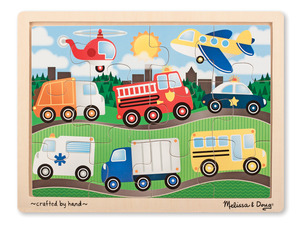 On the Road Vehicles Wooden Jigsaw Puzzle - 12 Pieces