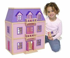 Multi-Level Solid Wood Dollhouse