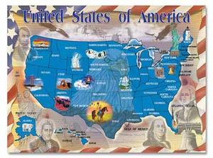 Map of the United States Cardboard Jigsaw Puzzle - 500 Pieces