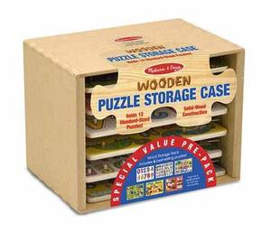 Natural Wood Storage Case with 6 Puzzles