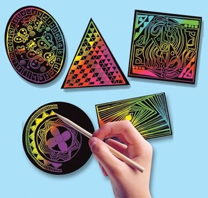 Scratch Art Geometric Scratchin' Shapes; Group Pack