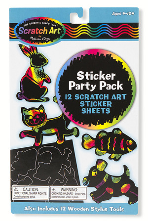 Scratch Art Party Pack - Animal Stickers