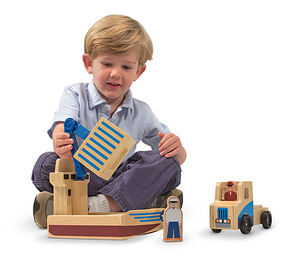 Whittle World Wooden Cargo Ship & Truck Play Set