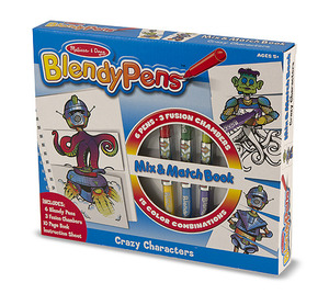 Blendy Pens Markers and Activity Book - Mix-and-Match Crazy Characters