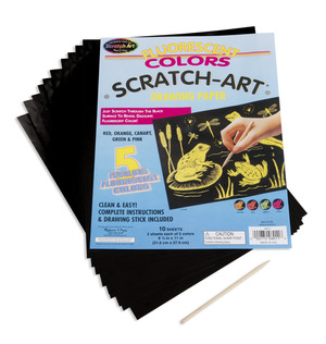 Scratch Art Paper Fluorescent Assortment (10 sheets)