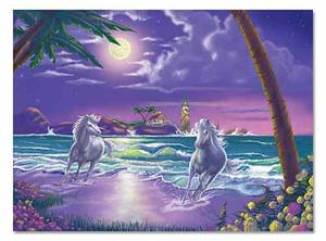 Seaside Stallions Cardboard Jigsaw Puzzle - 500 Pieces