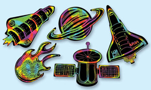 Scratch Art Outer Space Scratchin' Shapes Group Pack