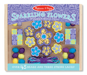 Sparkling Flowers Wooden Bead Set