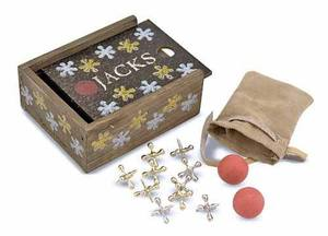 Classic Jacks Set with Wooden Storage Box