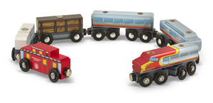 Wooden Train Cars Set