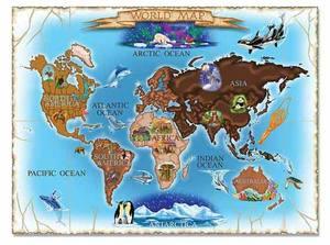 World Map Cardboard Jigsaw Puzzle  - 500 Pieces