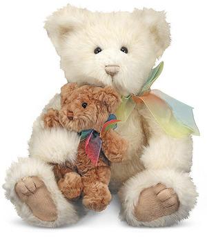 Cream & Puff Mother and Baby Teddy Bear Stuffed Animals