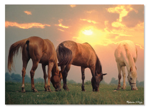 Sunset Horses Cardboard Jigsaw - 300 Pieces