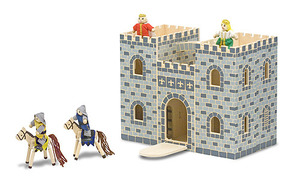 Melissa & Doug Wooden Fold & Go Castle inc Knights & Horses