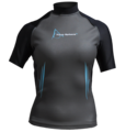 Aqua Skin Short Sleeve - Women, Temp 65F+ Black with Aqua - SM