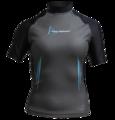 Aqua Skin Short Sleeve - Women, Temp 65F+ Black with Aqua - SM