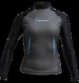 Aqua Skin Long Sleeve - Women, Temp 65F+ Black with Aqua - XL