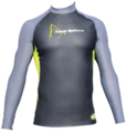 Aqua Skin Long Sleeve - Men, Temp 65F+ Black with Grey and Lime- LG
