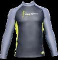 Aqua Skin Long Sleeve - Men, Temp 65F+ Black with Grey and Lime- SM