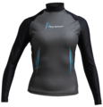 Aqua Skin Long Sleeve - Women, Temp 65F+ Black with Aqua - LG