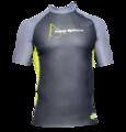 Aqua Skin Rashguard - Men, Temp 65F+ Black with Grey and Lime- LG
