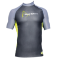 Aqua Skin Rashguard - Men, Temp 65F+ Black with Grey and Lime- LG