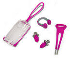 Silicone Nose Clip + Ear Plugs Combo with Carrying Case - Raspberry + Gray