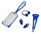 Silicone Nose Clip + Ear Plugs Combo with Carrying Case - Navy + Gray