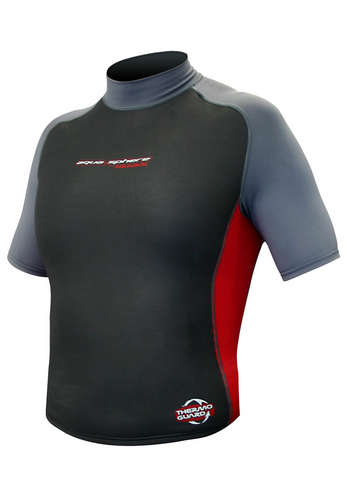 Aqua Skins Rashguard - Men, Temp 80F+ Black with Red and Gray- XXL picture