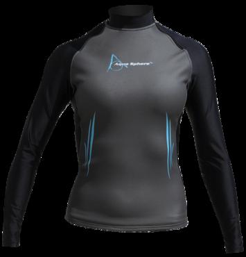Aqua Skin Long Sleeve - Women, Temp 65F+ Black with Aqua - XL picture
