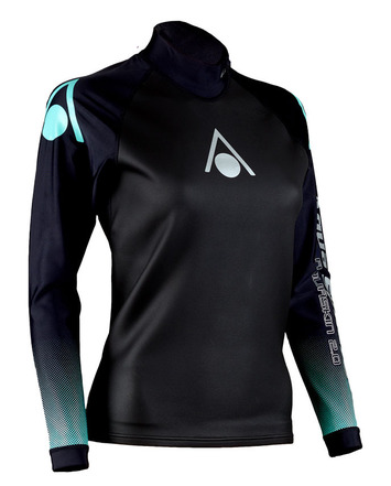 Aqua Skin Long Sleeve - Women, Temp 65F+ Black with Aqua - MD picture