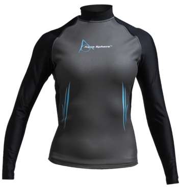 Aqua Skin Long Sleeve - Women, Temp 65F+ Black with Aqua - MD picture