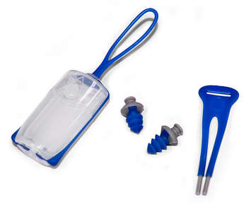 Silicone Ear Plugs with Carrying Case - Blue + Gray picture