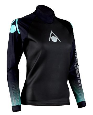 Aqua Skin Long Sleeve - Women, Temp 65F+ Black with Aqua - XS picture