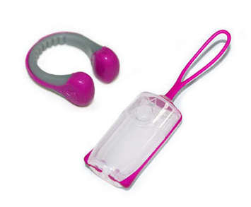 Silicone Nose Clip with Carrying Case - Raspberry + Gray picture