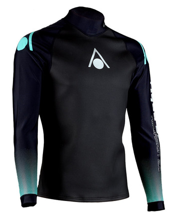 Aqua Skin Long Sleeve - Men, Temp 65F+ Black with Grey and Lime- SM picture