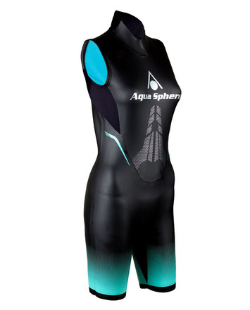"Aqua Skin ""Shorty"" - Women, Temp 65F+ Black with Aqua - XS picture"