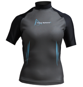 Aqua Skin Short Sleeve - Women, Temp 65F+ Black with Aqua - XS picture